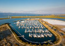 Aerial view of Redwood City port. Boats in Port of Redwood City in California Stock Photos