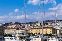 Boats in port of Rijeka stock photo