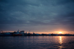 Boats in the port of Samut Sakhon. Stock Photo