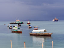Boats in the port of Stone Town before a storm Stock Photography