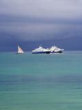 Boats in the port of Stone Town before a storm Royalty Free Stock Photography