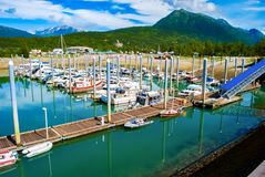 Boats in Port on Sunny Day stock photography
