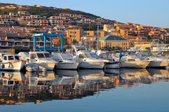 Boats in port at sunrise. Boats in the port of Palau in Sardinia at sunrise Royalty Free Stock Photo