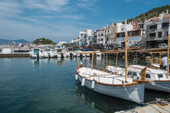 Boats in the port town. Stock Photo