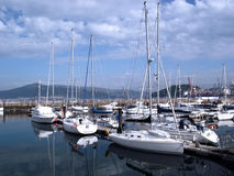 Boats in the port of Vigo, Galicia Royalty Free Stock Images
