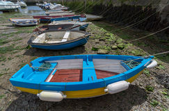 Boats in porthleven harbour Stock Image