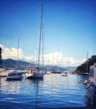 Boats in Portofino stock photography