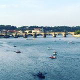 Boats of Prague. Enjoying the boat traffic of Royalty Free Stock Photo