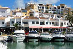 Boats in Puerto Banus harbour. Royalty Free Stock Image