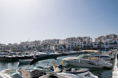 Boats in Puerto Banus. Luxury boats Puerto Banus Marbella Royalty Free Stock Photos