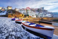 Puerto Viejo of Algorta in Getxo at winter with snow Royalty Free Stock Image
