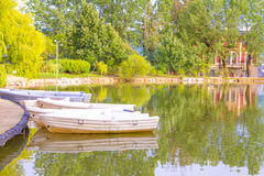 Boats in Puigcerda pond Stock Images