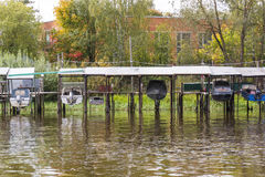 Boats pulled out of water. For winter storage Royalty Free Stock Photo