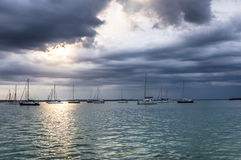 Boats in Punta Gorda, Cuba. Boats in in harbor in Punta Gorda, Cuba Royalty Free Stock Image