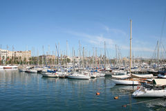 Boats at the quay. Barcelona, Spain Stock Images