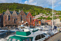 Boats at the quay in the city of Bergen Royalty Free Stock Photography