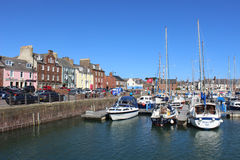 Boats and quayside houses, Arbroath Harbour Royalty Free Stock Photography