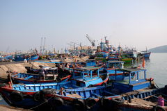 Boats at Qui Nhon Fish Port, Vietnam in the morning. Royalty Free Stock Photos