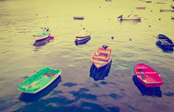Boats. In a Quiet Harbor, Instagram Effect Royalty Free Stock Photography