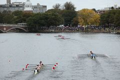 Boats Race in the Head of the charles Stock Photo