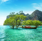 Boats on Railay beach, Thailand Royalty Free Stock Photography