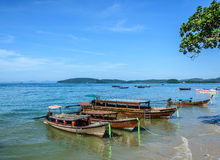 Boats at Railay Shore. Longtail boat waiting for departure going to different island of Krabi Stock Photos