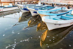 Boats Reflected in Rio Lagartos Royalty Free Stock Images