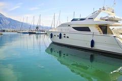 Boats reflection at Kalamata harbor Greece Royalty Free Stock Images