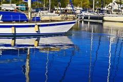 Boats reflection on sea Faliron Greece stock images