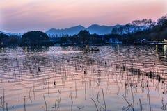 Boats Reflection Sunset West Lake Reflection Hangzhou Zhejiang C Royalty Free Stock Photos