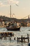 Boats with Reflections on the Sea of Bosphorus Royalty Free Stock Photos