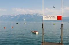 Boats for rent. On Geneva lake. Lausanne, Switzerland Stock Photography