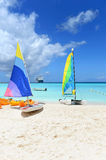 Boats for Rent on Caribbean Beach Royalty Free Stock Photos