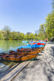 Boats for rent at the  Seehaus in Munich Stock Images