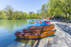 Boats for rent at the  Seehaus in Munich Royalty Free Stock Photos