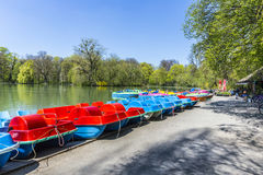 Boats for rent at the  Seehaus in Munich Stock Photos