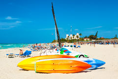Boats for rent and tourists enjoying the beach of Varadero in Cu Royalty Free Stock Image