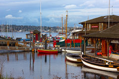 Boats rental facilities to paddle on the Lake Union. SEATTLE, USA – MARCH 22, 2016: Center for Wooden Boats on Lake Union on March 22, 2016 in Seattle, WA Stock Photo