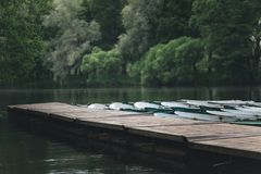 Boats rentals boat station a river and green trees on the background. Russia Stock Images
