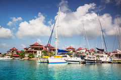 Boats and residential aria at Eden Island, Seychel Stock Photos