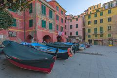 Boats at rest in the square of Vernazza royalty free stock photography