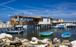 Boats and restaurants at the Marina Piccola, Sorrento Stock Images