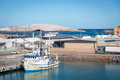 Boats resting in a sunny day in Baja California, Mexico Royalty Free Stock Images