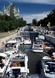 Boats in Rideau Canal Locks. Boats going through the locks of the Rideau Canal. Ottawa, Ontario Royalty Free Stock Photography