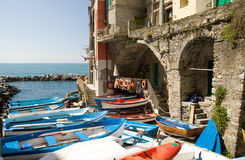 Boats in Riomaggiore. Riomaggiore (Liguria, Italy) - One of the five villages of the Cinqueterre stock images