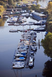 Boats on river. In Prague harbor Stock Images