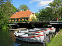 Boats at the river. In Lyngby, Denmark Royalty Free Stock Photo
