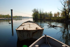 Boats on river. Rowing boats on calm water Royalty Free Stock Photos