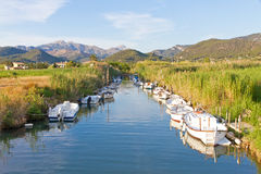 Boats on river in Andratx, Mallorca, Spain Royalty Free Stock Images