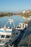 Boats on river Arun at Littlehampton, Sussex, England Stock Images